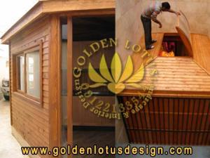 کلبه چوبی - دکوراسیون چوبی ، نورگیر چوبی