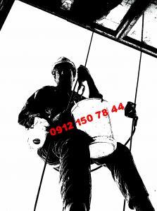 نماشویی ساختمان با طناب (بدون داربست)و با داربست 09121507844